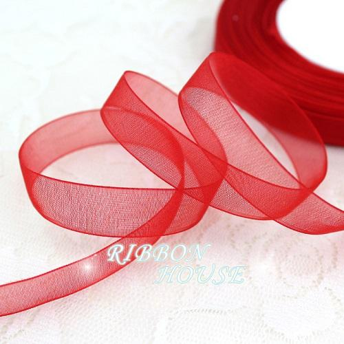 - (50 yards/roll) 1/2''(12mm) organza ribbons wholesale gift wrapping decoration Christmas ribbons - Red  jetcube