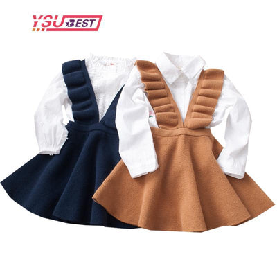 - 2-8Yrs Autumn Baby Girls Dress Fashion Girl Clothing Knit Sweater Kids Dresses for Girls Solid Sleeveless School Uniform Vestido -   jetcube