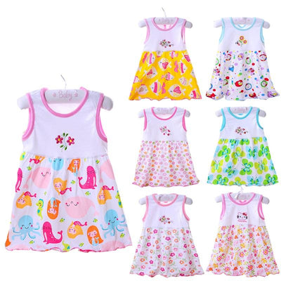 - 0-1-2T Cute & Nice printing Infant baby cotton dress toddler children girl's Various styles dresses summer clothes - Design 1 Random / 12M  jetcube