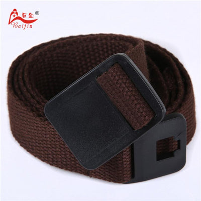 - 2.5cm webbing Waist Belt Candy Color Mens Womens Unisex Plain Webbing Canvas plastic Buckle Belt Personal Tailor - Coffee / 100cm  jetcube