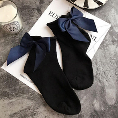 - 1 Pair Fashion Style Women Cotton Socks with Big Bow Solid Casual Female Short Socks Cute BowKnot chausette femme - Navy Blue  jetcube