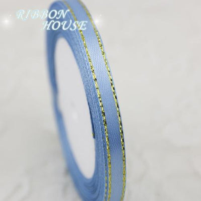 - (25 yards/roll)1/4'' (6mm) Sky Blue Gold Edge Ribbon Grosgrain satin ribbons high quality gift packaging ribbons -   jetcube