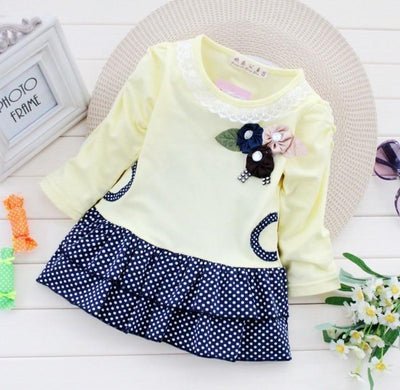 - (1piece /lot) 100% cotton baby princess dress autumn 2016 free shipping - Yellow / 12M  jetcube