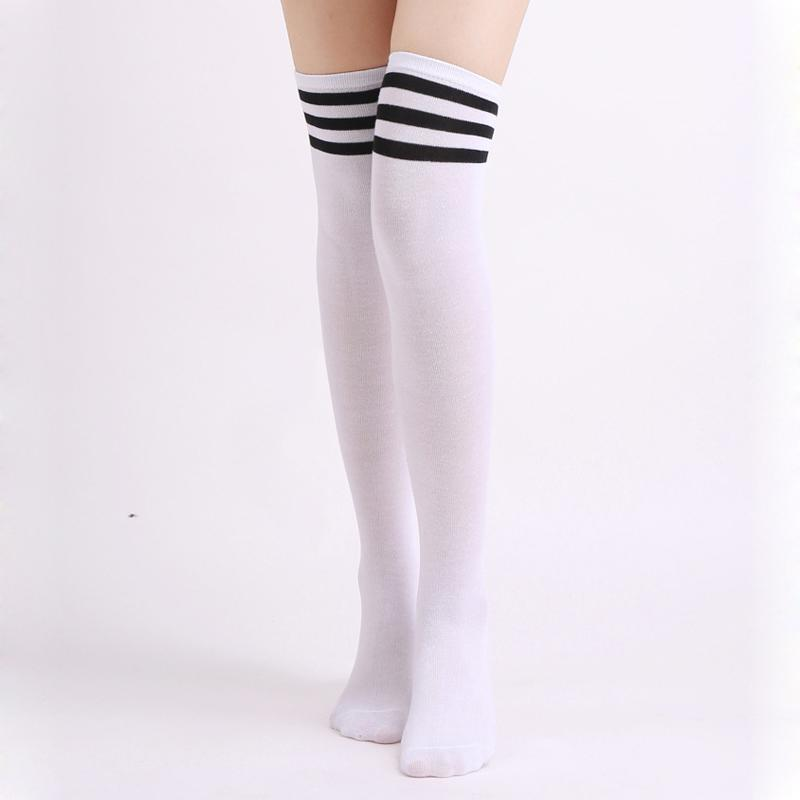 d2e4d82e142 1Pair Fashion Striped Over Knee Socks Women Thigh High Over The Knee  Stockings For Ladies