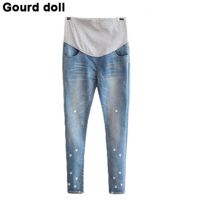- 2016 Gourd doll Maternity pregnancy jeans care pants for pregnant women Elastic waist jeans pregnant pregnancy overalls clothes -   jetcube