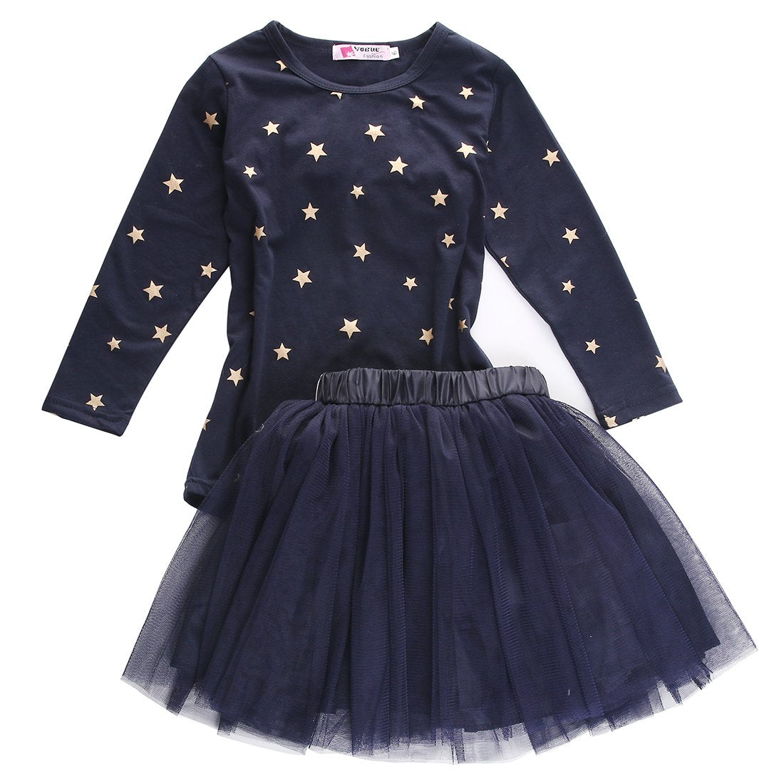 2pcs Baby Girls Party Star Printed Long Sleeves Shirt Bow Tulle Short Skirts Tutu Outfits Dress Clothes  UpCube- upcube