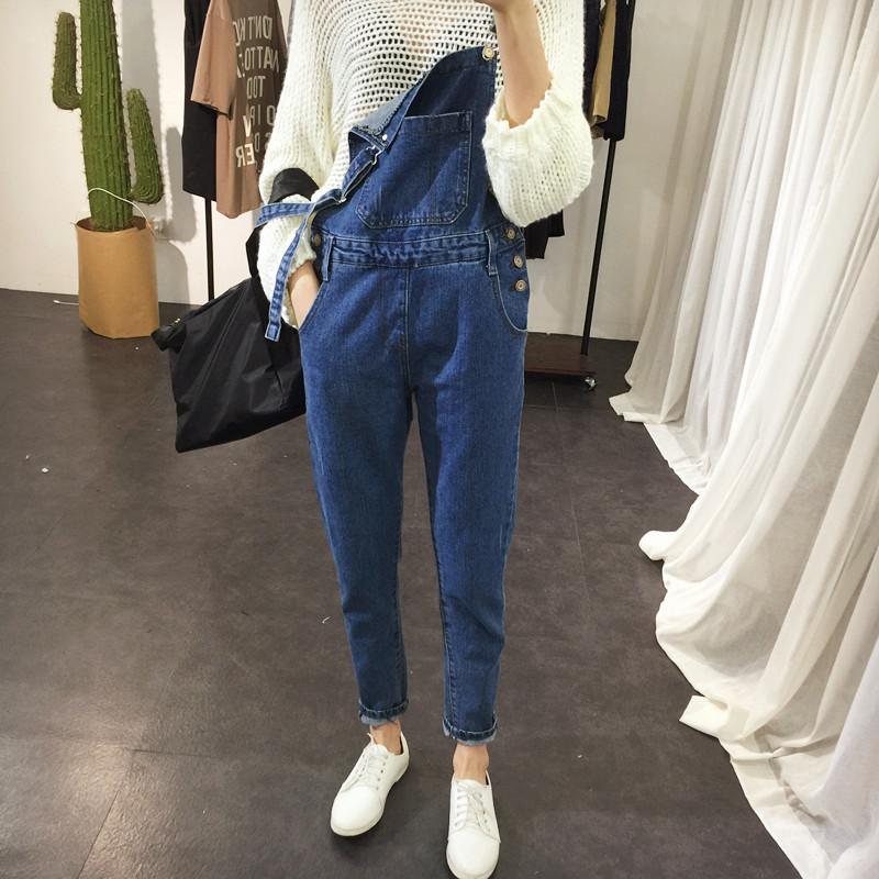 2017 denim bib pants female bf loose plus size denim trousers female jumpsuit Cheap wholesale
