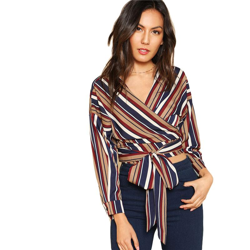 d07559a114 SHEIN Self Belted Striped Wrap Top V Neck Long Sleeve Button Weekend C -  Upcube