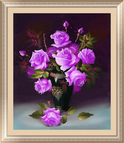 - &% 4 colors roses Diamond Embroidery 5D Diamond Painting Cross Stitch Kits Mosaic crystal Round Drill picture around mosaics - Purple  jetcube