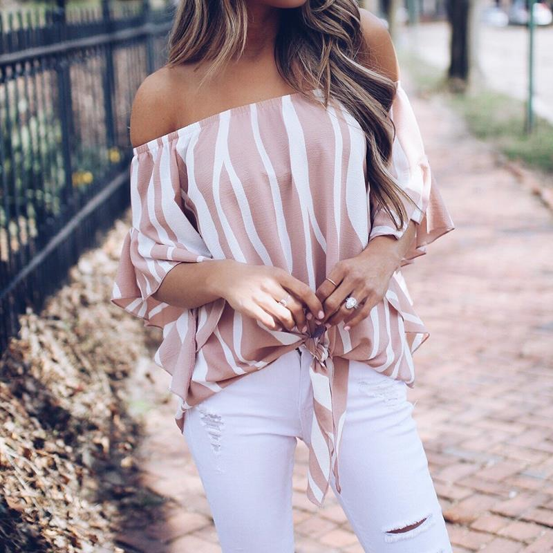 d7f42d3fda 2018 Women Striped Summer Blouses Slash Neck Off Shoulder Tops Sexy Blouses  Shirts For Woman WS7606M