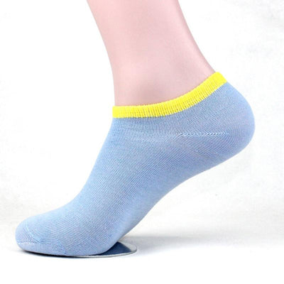 - 10 Pairs Womens Low Cut Ankle Socks Summer Short Socks Female Solid Casual Invisible Sox Chaussette For Ladies And Men - Blue / One Size  jetcube