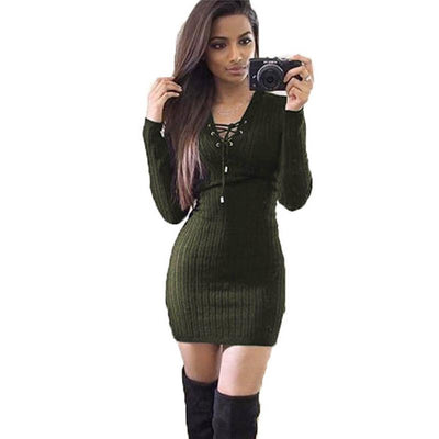 knitted dress 2017 women sweater dress autumn sexy lace up bandage bodycon christmas party dresses robe