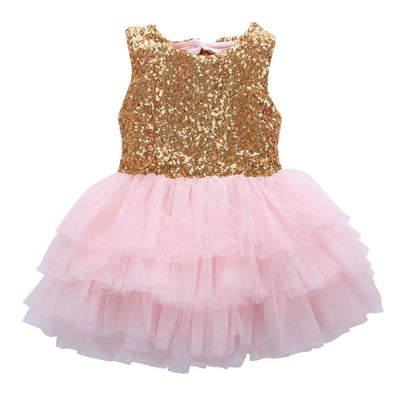 - 2016 Girls Summer Dress Kids Baby Flower Girl Sequins Dress Party Gown Formal Dresses Costume -   jetcube