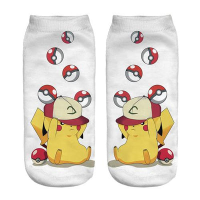- % New Arrival Kawaii Harajuku Pokemon Pikachu Socks 3D Printed Cartoon Women's Low Cut Ankle Socks Novelty Casual Socks Meias D - sxa90403 / One Size  jetcube