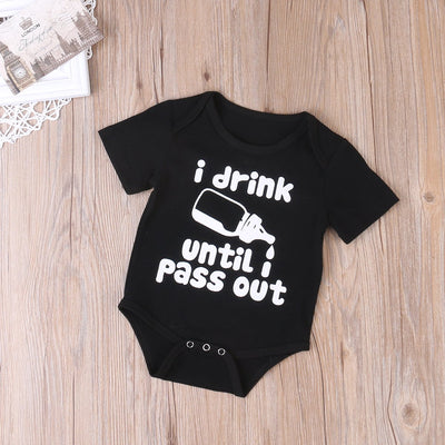 - 0-24M 2017 Newbron Toddler Kids Baby Boy Girl Summer Cute Romper Outfits letter drink black infant nerborn -   jetcube