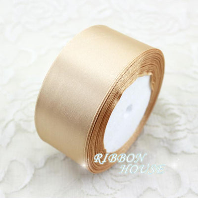 - (25 yards/roll) 40mm Single Face Satin Ribbon Webbing Black Coffee Champagne Decoration Gift Christmas Ribbons -   jetcube