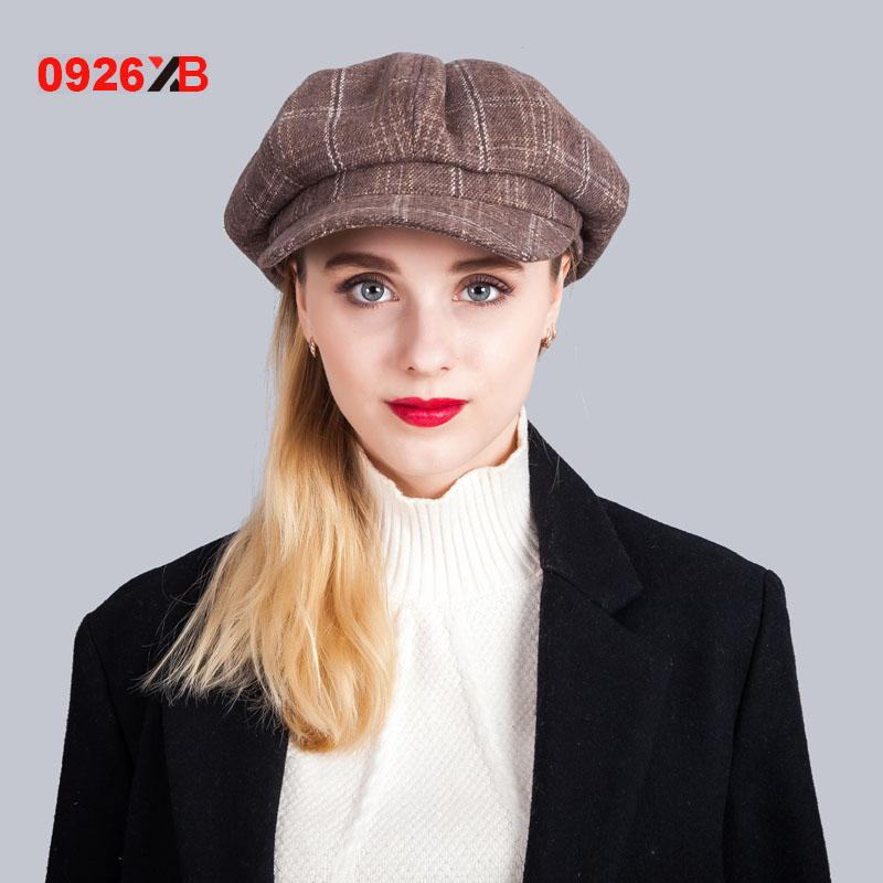 - 0926XB Berets Plaid Tweed Gatsby Newsboy Cap Women Khaki Wool Ivy Hat Golf Driving Flat Cabbie Flat Unisex Berets Hat XB-D603 - Brown  jetcube