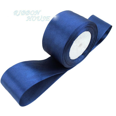 - (25 yards/roll) Deep Blue Single Face Satin Ribbon Wholesale Gift Wrapping Christmas ribbons -   jetcube