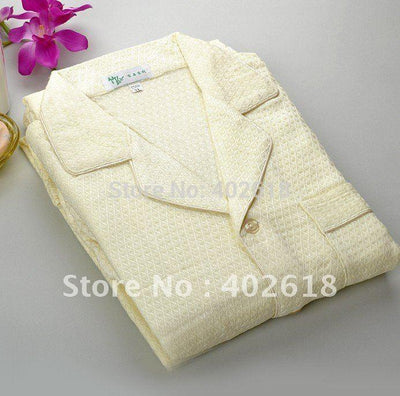 - (1Set/Lot) Pajama sets, Sleepwear,100%bamboo fiber, Bamboo sleepwear, Blue & beige, Natural & eco-friendly -   jetcube