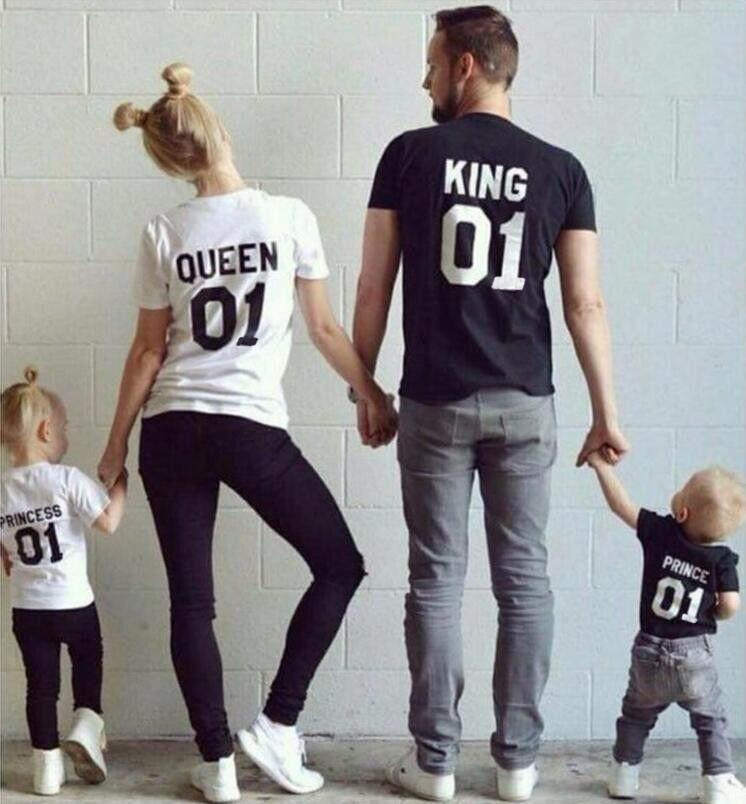 - 100% Cotton Matching T shirt King 07 Queen 07 Prince Princess Newborn Letter Print Shirts,Couples Leisure Short Sleeve O neck T- -   jetcube