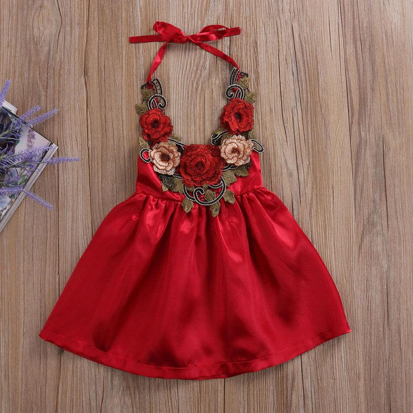 - 0-5T Rose Children Dresses Summer Toddler Kids Girls Party Flowers Sundress Formal Dress Dresses Clothes - Red / 12M  jetcube