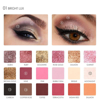 - 18 Full Color Matte Diamond Glitter Eyeshadow Palette Makeup Eyeshadow Palette Cosmetics Professional By FOCALLURE -   jetcube