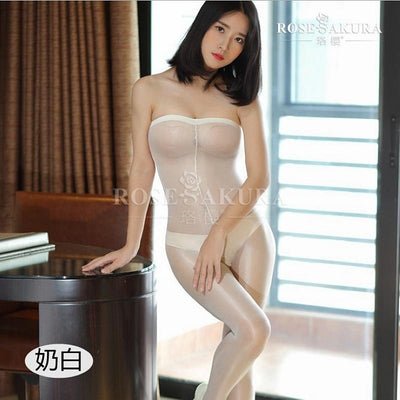 - 12D crotchless oil flash stockings sexy underwear bodysuit coveralls stockings fullbody stocking pantyhose open crotch medias - White  jetcube