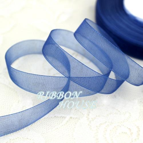 - (50 yards/roll) 1/2''(12mm) organza ribbons wholesale gift wrapping decoration Christmas ribbons - Dark Blue  jetcube