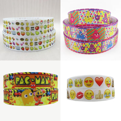 "- (5yds per roll) 1""(25mm) emoji high quality printed polyester ribbon 5 yards, DIY handmade materials, wedding gift wrap,5Yc971 -   jetcube"