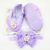- 0-12 Months Newborn Baby Girl Shoes white baptism Toddler Infant Fabric Booties Flower Headband Set Pearls Lace Princess KU31 - e / 2  jetcube