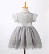 - 2016 Girls Princess Wedding Party Dress Elegant Lace Floral Tulle Dresses Baby Girl Dress High Quality - Gray / 2T  jetcube