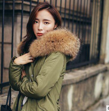 - 2016 Hooded Down Parka Jacket Coat Army Green Long Jacket Women Winter Thick Coat Large Real Raccoon Fur Hooded Down & Parkas -   jetcube
