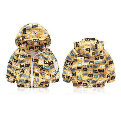 - 2-6Years Kids Baby Spring Autumn Jacket Hooded Coat Boy Girl Toddler Cartoon Print Outerwear Windbreaker Child Fashion Clothes -   jetcube