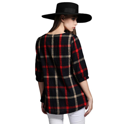 4XL 5XL Plus Size Fashion Women Blouse O Neck 3/4 Sleeve Plaid Shirt Casual Vintage Ladies Big Size Blouses Shirts Tops 2018 Red