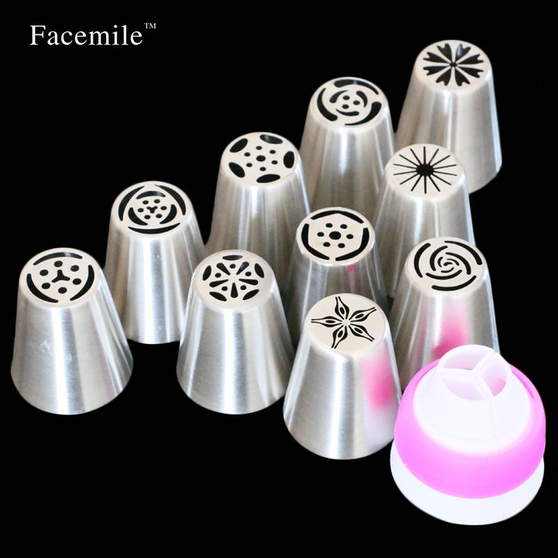 - 10 PCS Nozzles With 1PC Converter Russian Tulip Icing Piping Nozzle Tips Kitchen DIY Cupcake Decorating Mouth Tool 53033 -   jetcube