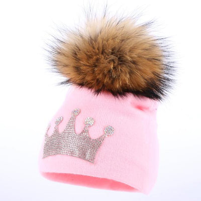 - 0-3 year old baby casual winter hat children crown beanies real mink pompom lovely boy girl skullies solid cotton warmer hats -   jetcube