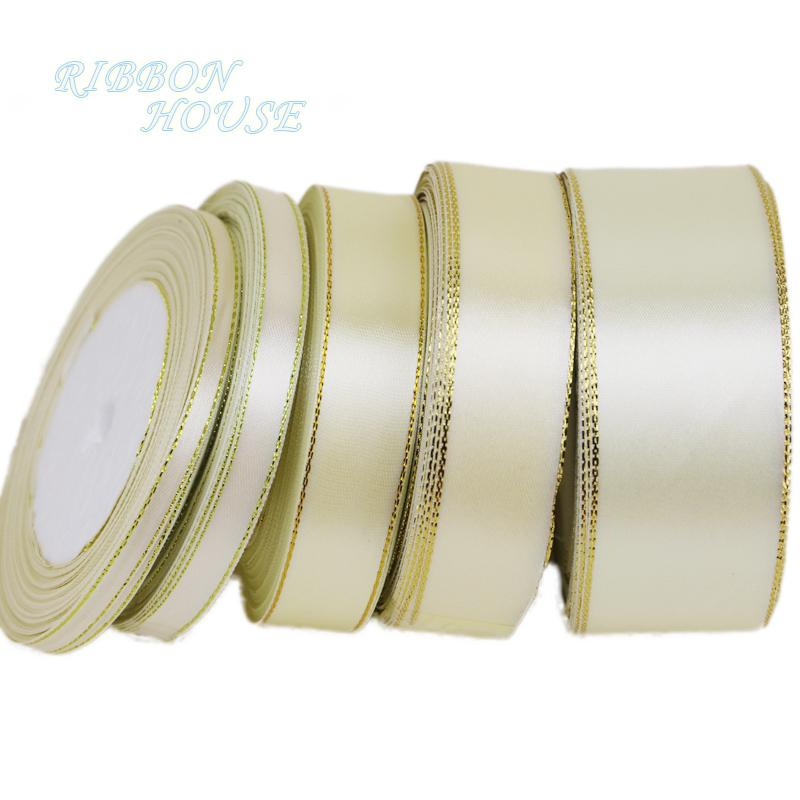 - (25 yards/lot) Cream White Gold Edge Ribbon high quality grosgrain satin ribbons gift packaging ribbons -   jetcube