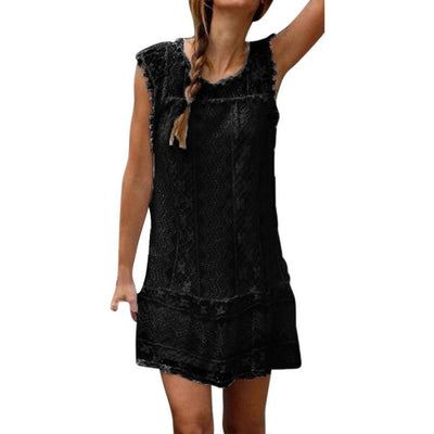 - 1PC 2018 Women Lady Summer Casual Lace Sleeveless O-Neck Beach Short Dress Daily Tassel Party Sexy Mini Dresses Droship 10Jun 12 - Black / L  jetcube