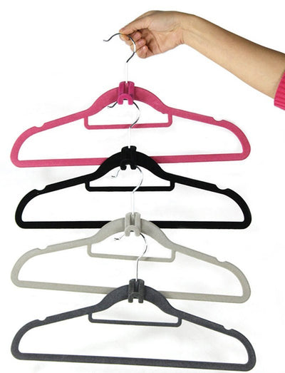- 10 pcs/lot Cloth Hanger Hook Random Color Mini Flocking Clothes Hanger Easy Hook Closet Organizer Clothes Hanger -   jetcube