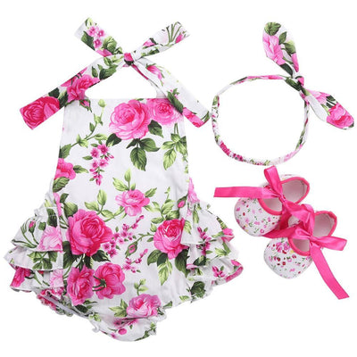 - 0-1 Year First Birthday Baby Show Floral Baby Clothes Girls Cute Headband Bebe Shoes 3 PCS set;Props Cotton Baby Rompers Overall - 7E3043 / 12M  jetcube