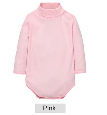 - 12 Color Baby Clothes 0-24M Newborn baby boy girl clothes Jumpsuit Long Sleeve Infant Product solid turtleneck Baby Rompers - Pink / 12M  jetcube