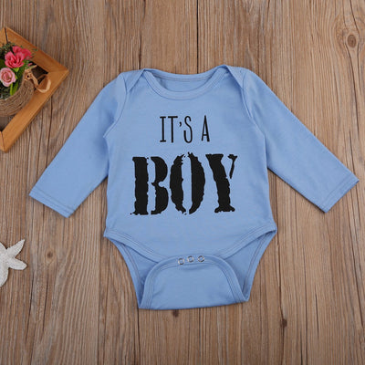 - 0-18M Toddler Baby Boy Autumn Clothes Outfit Long Sleeve Cotton Letter Romper Baby Clothing - Sky Blue / 12M  jetcube