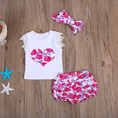 - 0-3T Baby Clothing Set Toddler Kids Baby Girls Outfit Clothes Lace T-shirt Tops+Floral Shorts +headband 3PCS Sunsuit Clothing - Pink / 12M  jetcube
