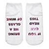 - 1 Pairs IF YOU CAN READ THIS Socks Women Funny White Low Cut Ankle Socks Hot Sale 2017 Bring Me A Glass Of Wine -   jetcube