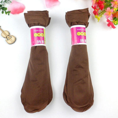 - 10 Pairs Women Velvet Socks Summer Thin Silk Sexy High Elastic Nylon Low Cut Cool Feeling Solid Color Breathable Socks - Brown / One Size  jetcube