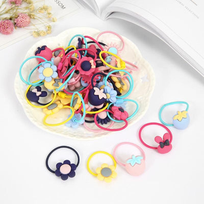 - 10 Pcs/lot (5 pairs) New Arrival Candy Color Floral Cartoon Hair Elastic Ties Kids Hair Bands Accessories -   jetcube