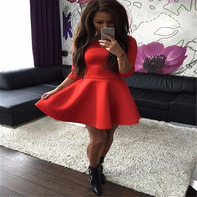 2017 Autumn Black Plain Pleated Round Neck Fashion Casual Round Mini Dress A-Line Half Sexy Party Club Solid Color Dresses Women