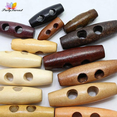 - 100pcs 20 30 40 45mm 2-Holes Olives Wooden Buttons Natural Oval Dyed Clothing Buttons for Needlework Coat Scrapbooking NK007 -   jetcube