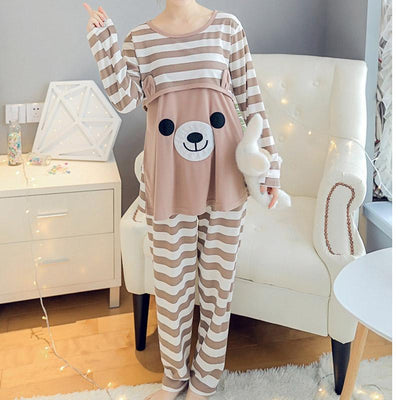 Moms maternity clothes maternity nightgown breastfeeding pregnancy sleepwear for pregnant women nursing pajamas set bear