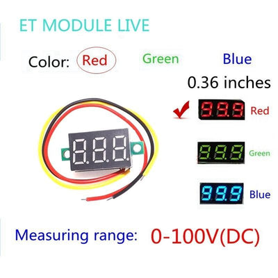 "0.36"" Digital Voltmeter DC 0V-100V Three Lines 3 digit Voltage Panel Meter Display led Color Red  upcubeshop- upcube"
